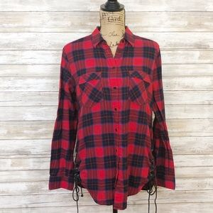 Express Red Plaid Flannel Top Size Med